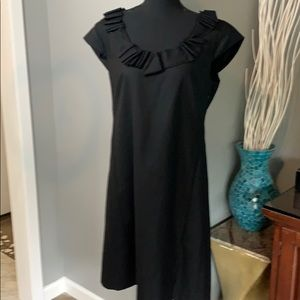 J. Crew Pleated Neckline Black Wool Dress